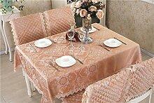 Taboeoe Europäische Esstisch Tuch Sitzkissen Hülse Tuch Entsprechen Europäischen Einfache Tabelle Tuch, Kaffee Farbe, Tischdecke 130 * 180
