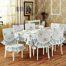 Taboeoe Europäische Klassische Stickerei Spitze Tischdecke Abdeckung Mode Tischbeläge, Blau, 90*90