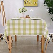 Taboeoe Moderne Tischdecke Exquisite Wasserfeste Tischdecke Baumwolle Die Große Grüne Plaid 120*120 Cm
