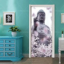 TACBZ Türplakat Selbstklebende 3D Buddha Statue