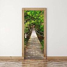 TACBZ Türposter Selbstklebend 3D Waldgrün Baum