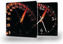 Tacho - Moderne Wanduhr mit Fotodruck auf Polycarbonat   Fotouhr Bilderuhr Motivuhr Küchenuhr modern hochwertig Quarz, Variante:30 cm x 30 cm mit weißen Zeigern - GERÄUSCHLOS