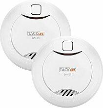 Tacklife SAH23-2 Rauchmelder,10-Jahres-Rauchwarnmelder, 3V CR 17335 Lithium-Batterie ,2 Stück