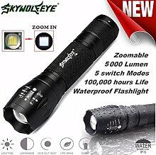 TopTen Fan-Motive 2000/Lumen Super helle 5/Modi Zoom einstellbarer Fokus LED Taschenlampen Lampe Tactical Taschenlampe