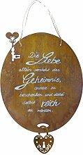 Tafel mit Burgschloß aus Blech mit Beschriftung 40 x 34cm