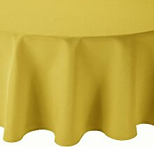 Tafeldecke Brilliant Leinenoptik Rund 140 cm Gelb