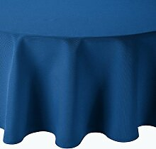 Tafeldecke Brilliant Leinenoptik Rund 220 cm Blau