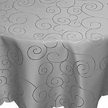 Tafeltuch Damast Ornamente 135cm rund grau
