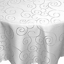 Tafeltuch Damast Ornamente 135cm rund hellgrau