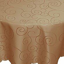 Tafeltuch Damast Ornamente 160x220cm oval hellbraun