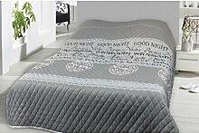 Tages-Decke XXL (220x240 cm) mit wattierter Zwischenlage, in verschiedenen gesteppten Patchwork Designs, Überwurf Steppbett (Design: Good Night)