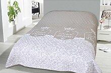 Tages-Decke XXL (220x240 cm) mit wattierter Zwischenlage, in verschiedenen gesteppten Patchwork Designs, Überwurf Steppbett (Design: Royal Dreams)