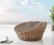 Tagesbett Nilam 145x73 cm aus Rattan Natur Kissen
