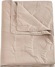 Tagesdecke Blatt, beige (Einzelbett mit Fußteil
