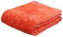Tagesdecke Kuscheldecke Bettüberwurf Schlafdecke 220x240 cm Orange + Tragetasche