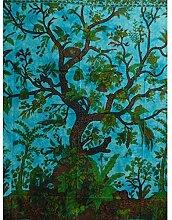 Tagesdecke Lebensbaum türkis blau 240x200cm