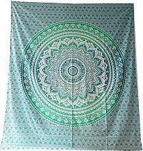 Tagesdecke Mandala Flower grün blau Baumwolle