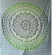 Tagesdecke Mandala Flower grün weiß Baumwolle