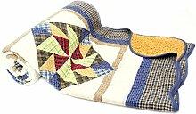 Tagesdecke Olivia 230x250cm Patchwork Dreieck Karo Landhaus Plaid Quilt Decke