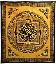 Tagesdecke Om Mandala orange Baumwolle Wandbehang Dekoration