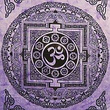 Tagesdecke Om Mandala violett 235 x 200 cm Baumwolle Wandbehang Dekoration