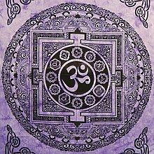 Tagesdecke Om Mandala violett Baumwolle Wandbehang Dekoration