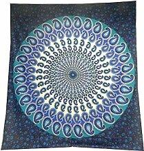 Tagesdecke Paisley Mandala blau türkis Überwurf