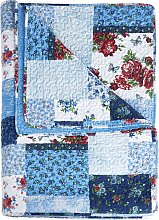 Tagesdecke Patchwork, blau (Einzelbett mit Fußteil 210/140 cm)