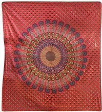 Tagesdecke Pfau 225x200cm indische Decke Baumwolle