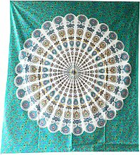 Tagesdecke Pfau Mandala grün Baumwolle Überwurf