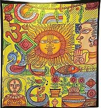 Tagesdecke Psychedelisches Picasso Bild Selten Hippie Wandteppich Doppelbett Größe Sofadecke