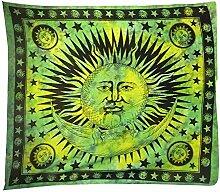Tagesdecke Sonne Halbmond grün indische Decke Überwurf Wandbehang Dekoration