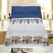 Tagesdecke Spring Single Bären Herzen blau aus Baumwolle Jacquard–Made in Italy–Geschenkidee unverlierbaren Angebot.