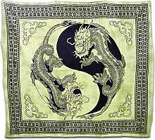 Tagesdecke Tuch Decke Baumwolltuch Feng Shui Couch Überwurf Drache Yin Yang Hellgrün Nr. 303