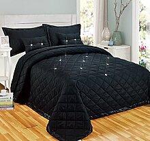 Tagesdecken-Set mit Kissen, Diamant-Design, wendbar, Polyester, schwarz, King Size