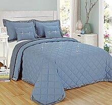 Tagesdecken-Set mit Kissen, Diamant-Design, wendbar, Polyester, Silberfarben, Doppelbe