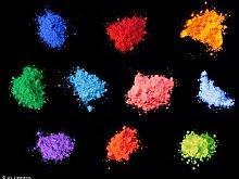 Tagesleuchtpigment Set 4 10x100g (weiß, blau, grün, gelb, rot, orange, pink, magenta, violett, türkis) - Schwarzlicht, Farbpigment, UV, Neon