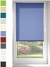 Tageslichtrollo Blau 95x150cm (Stoffbreite: 91cm)
