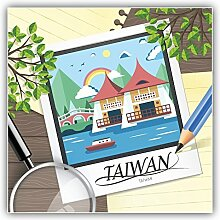 Taiwan Illustration Travel Kunst Dekor Aufkleber 12 x 12 cm