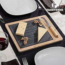 TakeTokio Käseplatte aus Bambus mit Schiefer (2