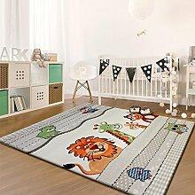 Taleta Kinderteppich Spielteppich Tiere mit Eule Löwe Affe Giraffe Beige Orange Bunt, Größe: 200x290cm