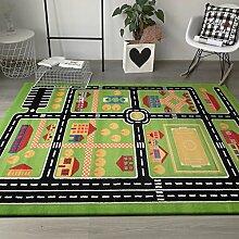 Taleta Spielteppich Kinderteppich Straßen Wohnen, Melier in Grün Schwarz, Größe: 200x290cm