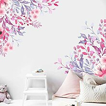 Tamengi Wandaufkleber mit Wasserfarben-Blumen,