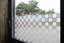 """Tamia-Living Statische Fensterfolie 90% UV-Sonnenschutz Selbsthaftende Sichtschutzfolie Glasdekor """"""""Quad weiss"""""""" L018 (90*150cm)"""