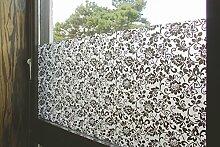 """Tamia-living Statische Fensterfolie 90% UV-Sonnenschutz Selbsthaftende Sichtschutzfolie Glasdekor """"""""schwarze Blumen"""""""" P010B (90*200cm)"""