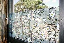 """Tamia-Living Statische Fensterfolie 90% UV-Sonnenschutz Selbsthaftende Sichtschutzfolie Glasdekor """"""""blaue Blumen"""""""" M003 (90*200cm)"""