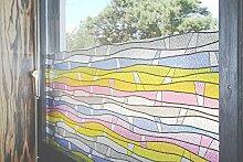 """Tamia-Living Statische Fensterfolie 90% UV-Sonnenschutz Selbsthaftende Sichtschutzfolie Glasdekor """"""""bunte Streifen"""""""" M001 (90*150cm)"""