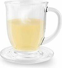 Tamirei Teeglas mit Untersetzer/Deckel, 400 ml,