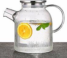 TAMUME 1500ML Glas Teekanne mit Edelstahlkappe und