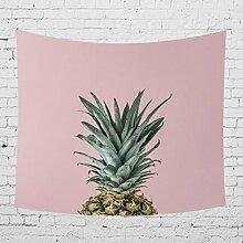 TAN-Z Grüne Pflanze, Ananas-Serie Tapisserie, Wandbehang Tapisserie Dekor Aquarell Tapisserie Zimmer Dekor Tapisserie Wandkunst für Schlafzimmer Wohnzimmer Home Decor, Polyester GT023, 1, 150x130